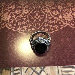 Silver & Black Mod Ring Size 6